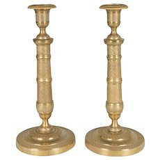 Pair of Louis XVI Style Brass Candlesticks