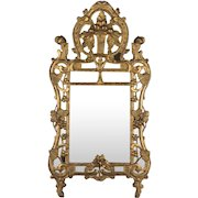 18th c. French Régence Carved Giltwood Mirror