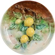 19th Century French Barbotine Wall Platter with Lemons