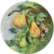 19th Century French Barbotine Wall Platter with Pears