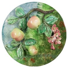 19th Century French Barbotine Wall Platter with Apples