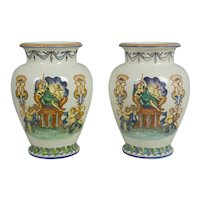 Pair of French Faience Vases by Jules Vieillard