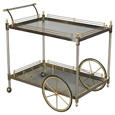 Italian Brushed Nickel & Brass Bar Cart