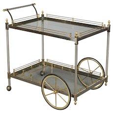 Italian Brushed Nickel & Brass Bar Cart