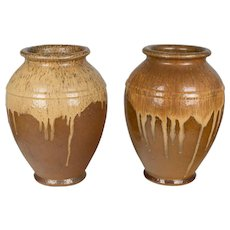 Pair of French Glazed Terracotta Pottery Vases