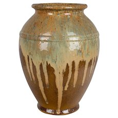 French Glazed Terracotta Pottery Vase