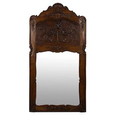 French Carved Walnut Trumeau Mirror