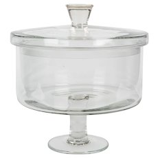 French Glass Covered Trifle Dish