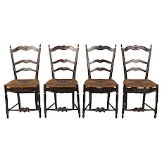 Set of Four 19th c. Country French Chairs