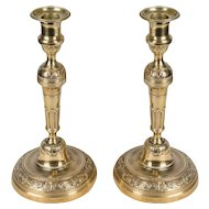 Pair French Brass Candlesticks