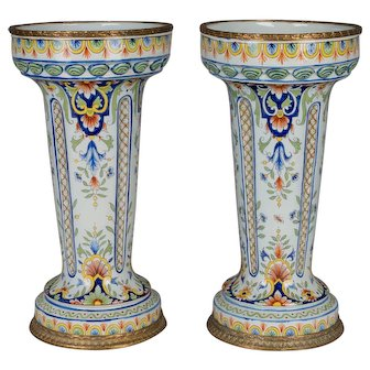 Pair of 19th c. French Desevres Vases