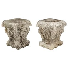 Pair of French Cast Stone Garden Stools