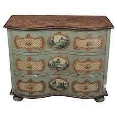 19th c. German Serpentine Painted Chest