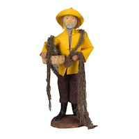 French Santon de Provence or Nativity Statue of a Fisherman
