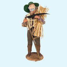 French Santon de Provence or Nativity Statue of a Farmer with Scythe