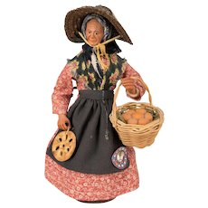 French Santon de Provence or Nativity Statue of Woman with Fougasse & Basket