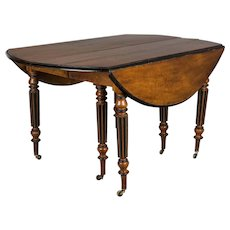 French Walnut Drop Leaf Extension Dining Table