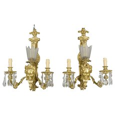 Pair of French Gilt Bronze Sconces