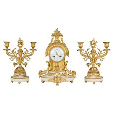 19th c. Louis XVI Style Mantle Clock Garniture