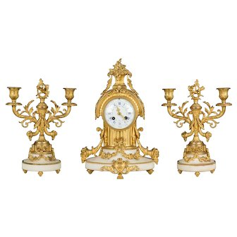19th c. Louis XVI Style Mantle Clock Garniture