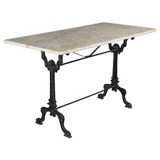 19th c. French Cast Iron Marble-Top Bistro Table