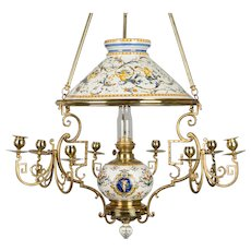 19th c. French Gien Oil Lamp Chandelier