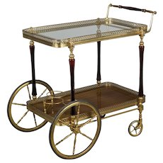 French Brass And Mahogany Bar Cart
