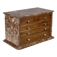 19th Century French Miniature Marble Clad Chest