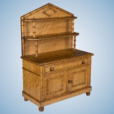 19th c. French Faux Bamboo Doll Furniture Buffet