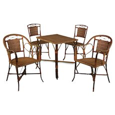French Woven Wicker Dining Set