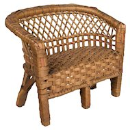 French Miniature Rattan Doll Settee