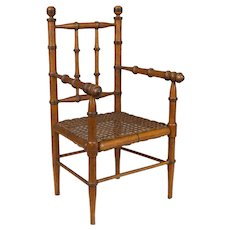 19th c. French Faux Bamboo Doll Chair