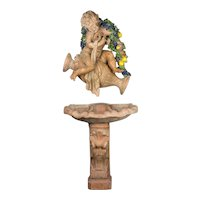 French Terracotta Fountain with Cupid and Shell Basin
