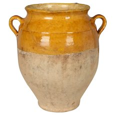 Early 20th Century French Yellow Glazed Terracotta Confit Pot