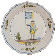 18th Century French Faience Nevers Plate