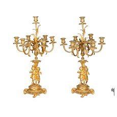 Pair of 19th c. Louis XV Style Ormolu Candelabra