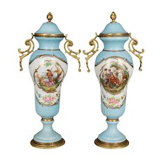 Pair of French Sèvres Porcelain Urns