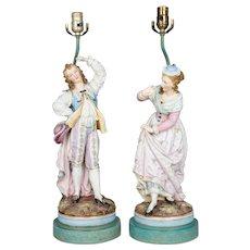 Pair of French Sèvres Bisque Porcelain Lamps
