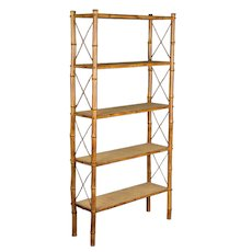 Mid-Century French Bamboo & Rattan Etagere