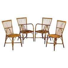 Set of Four French Rattan Dining Chairs