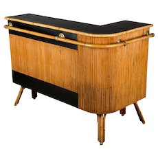 Mid-Century French Riviera Bamboo & Rattan Bar