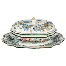 19th Century French Faience Tureen & Platter