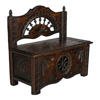 French Miniature Doll Furniture Bench from Brittany.