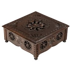French Carved Oak Box from Brittany