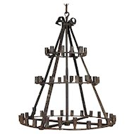 19th c. French Iron Candle Chandelier