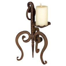 Antique French Wrought Iron Candle Holder or Sconce