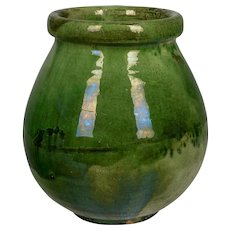 French Green Glazed Terracotta Pottery Vase