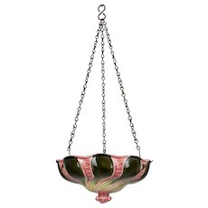 19th c. French Majolica Hanging Planter or Birdbath