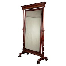 19th Century French Empire Style Mahogany Cheval Mirror