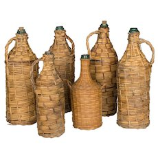 Set of 6 Wicker Wrapped Glass Bottles